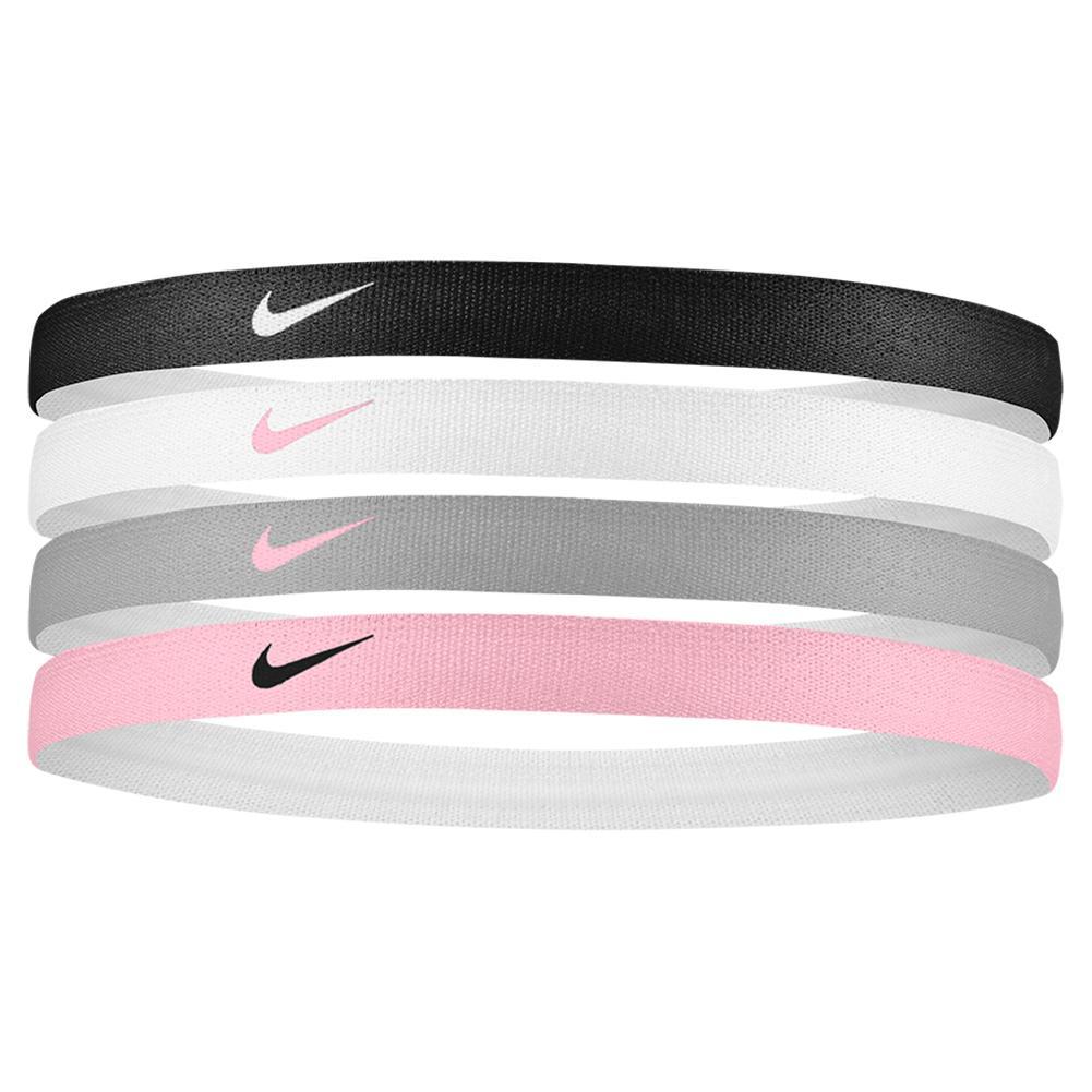 Girls ` Printed Tennis Headbands 4 Pack Black And White
