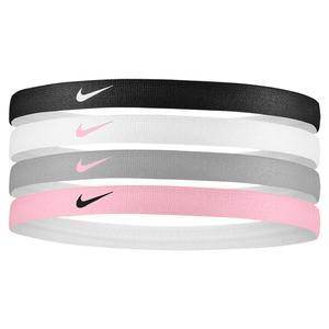 Girls` Printed Tennis Headbands 4 Pack Black and White