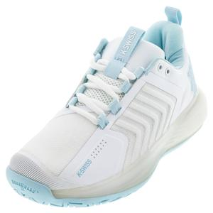 Women`s Ultrashot 3 Tennis Shoes White and Blue Glow