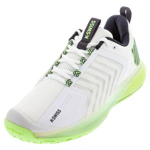 Men`s Ultrashot 3 Tennis Shoes White and Soft Neon Green