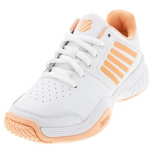 Women`s Court Express Tennis Shoes White and Peach Nectar
