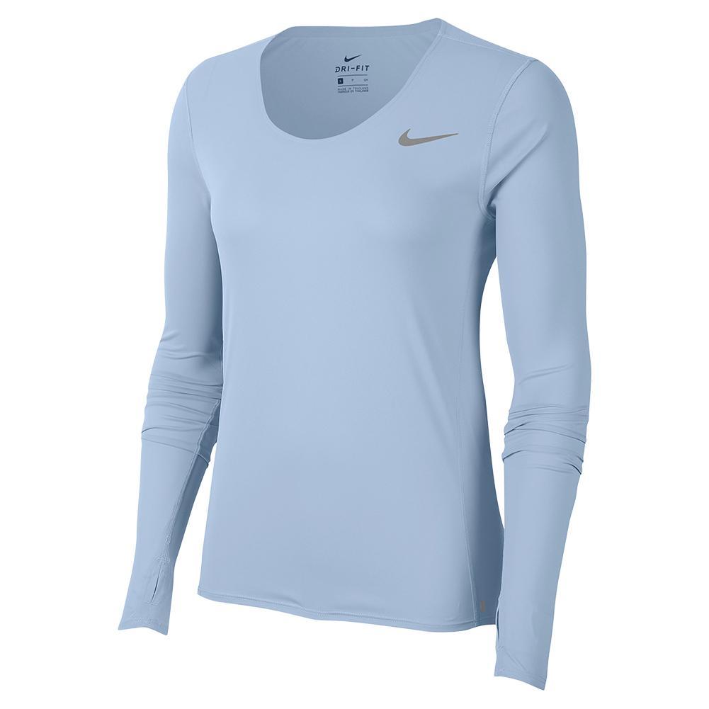 Women's City Sleek Long Sleeve Running Top Hydrogen Blue And Reflective Silver