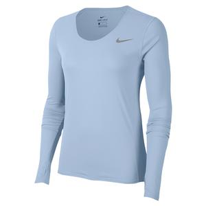 Women`s City Sleek Long Sleeve Running Top Hydrogen Blue and Reflective Silver