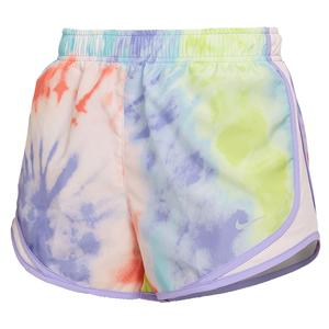 Women`s Tie Dye Print Tempo Running Shorts Purple Pulse and Light Violet