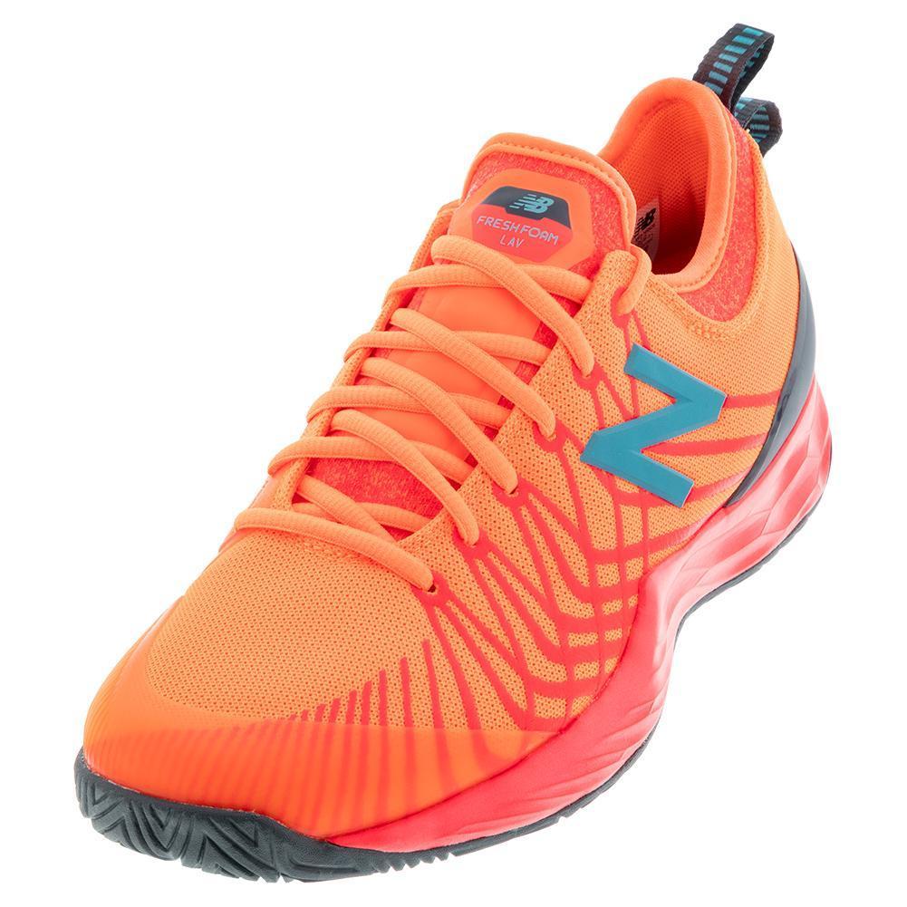 Men's Fresh Foam Lav 2e Width Tennis Shoes Citrus Punch And Vivid Coral
