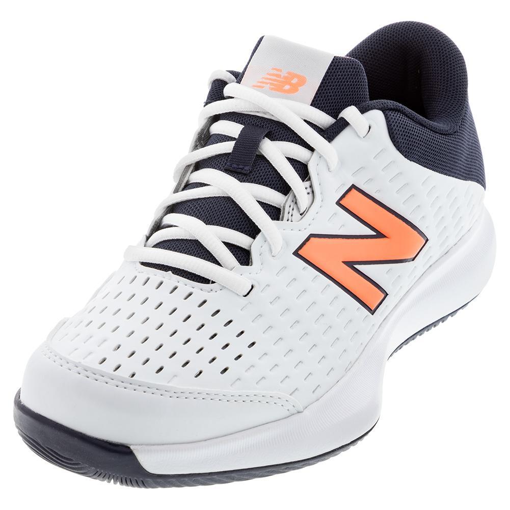 Women's 696v4 D Width Tennis Shoes White And Thunder