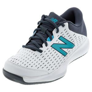 Men`s 696v4 D Width Tennis Shoes White and Thunder
