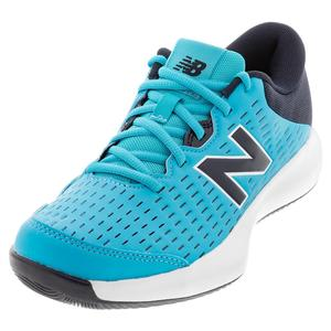 Men`s 696v4 2E Width Tennis Shoes Virtual Sky and Black