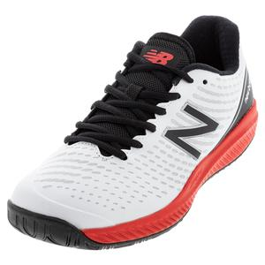 Men`s 796v2 D Width Tennis Shoes White and Velocity Red