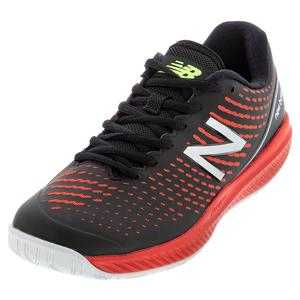 Men`s 796v2 D Width Tennis Shoes Black and Velocity Red