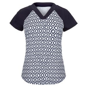 Women`s V Neck Raglan Tennis Top Ikat Print