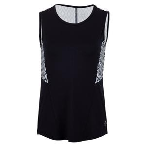 Women`s Printed Panel Tennis Tank Midnight and Ikat Print