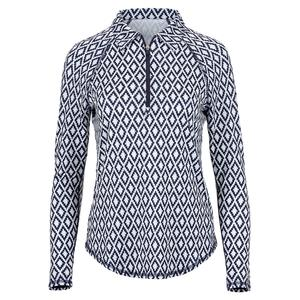 Women`s UV Long Sleeve Tennis Polo Ikat Print