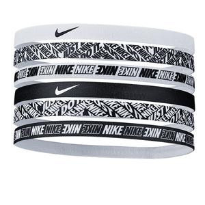Women`s Printed Tennis Headbands 6 Pack White