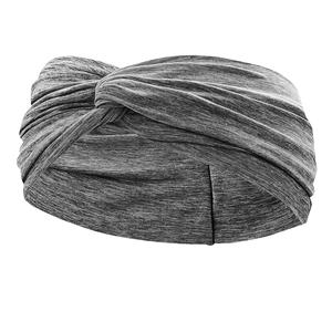Women`s Heathered Twist Knot Tennis Headband Charcoal Heather and Black