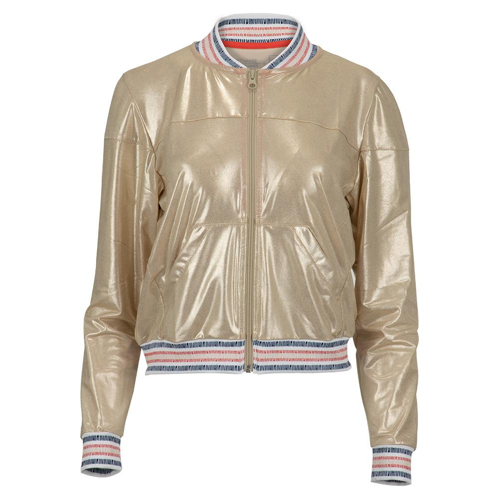 Women's Metallic Tennis Bomber Jacket Champagne