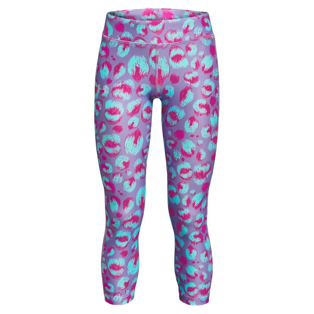 Girls ` Heatgear Armour Printed Ankle Crop Planet Purple And Meteor Pink