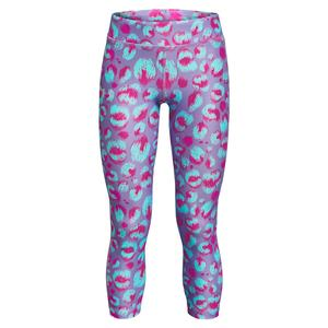 Girls` HeatGear Armour Printed Ankle Crop Planet Purple and Meteor Pink
