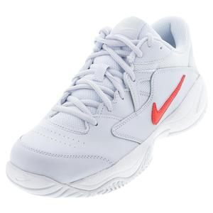 Juniors` Court Lite 2 Tennis Shoes Football Grey and Bright Crimson