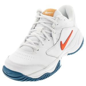 Juniors` Court Lite 2 Tennis Shoes White and Team Orange