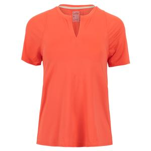 Women`s Viper Tie Back Short Sleeve Tennis Top Flame