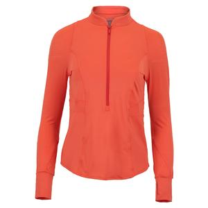Women`s Upbeat 1/4 Zip Long Sleeve Tennis Top Flame