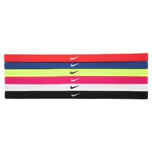 Girls` Swoosh Sport Headbands 6 Pack University Red and Game Royal