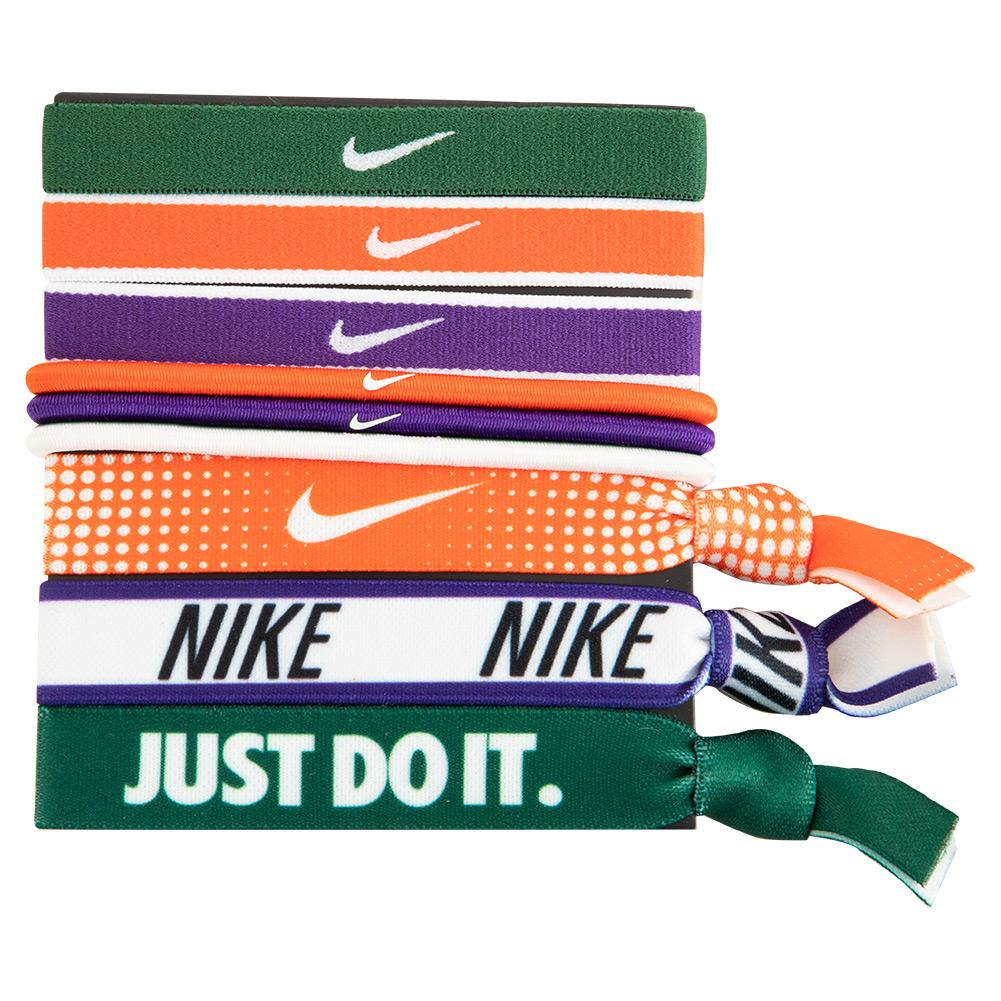 Mixed Tennis Hairbands 9 Pack Gorge Green And Team Orange
