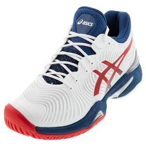 Men`s Court FF 2 Tennis Shoes White and Mako Blue