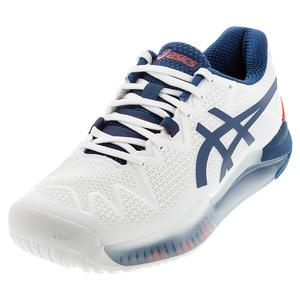 Men`s GEL-Resolution 8 Tennis Shoes White and Mako Blue
