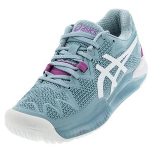 Women`s GEL-Resolution 8 Wide Tennis Shoes Smoke Blue and White