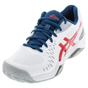 Men`s GEL-Challenger 12 Clay Tennis Shoes White and Classic Red