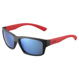 Holman Floatable Sunglasses Matte Black Red and HD Polarized Offshore Blue