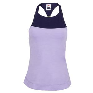 Women`s Back Court Halter Tennis Tank Purple and Marlin Heather