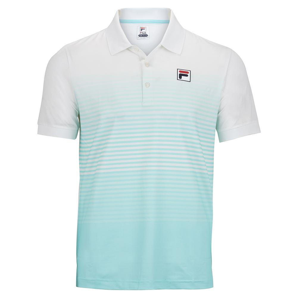 Men's Legends Ombre Stripe Tennis Polo White And Beach Glass