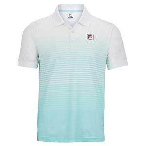 Men`s Legends Ombre Stripe Tennis Polo White and Beach Glass
