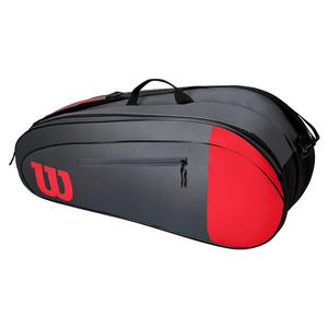 Team 6 Pack Tennis Bag Red and Gray
