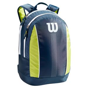 Juniors` Tennis Backpack Navy and Lime Green