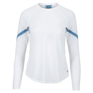 Women`s Terrain Long Sleeve Tennis Top White and Cameo Blue