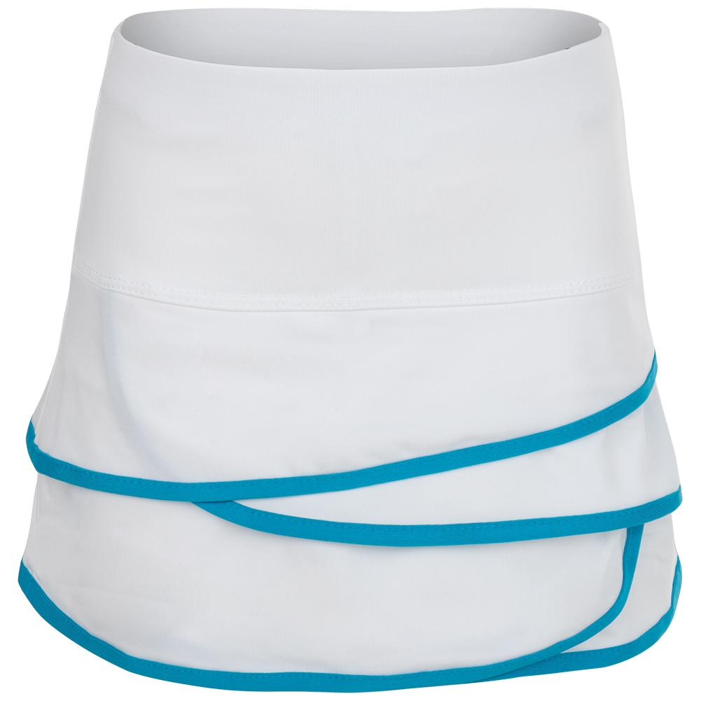 Girls'scallop Tennis Skort White And Turquoise Trim