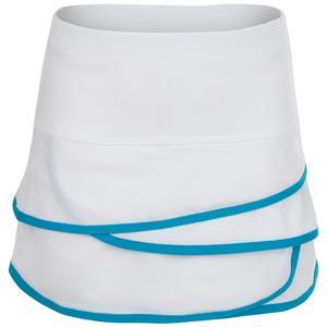 Girls` Scallop Tennis Skort White and Turquoise Trim