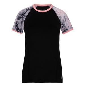 Women`s Short Sleeve Tennis Top Black and Rose Anaconda