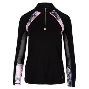 Women`s Long Sleeve Tennis Top Black and Rose Anaconda