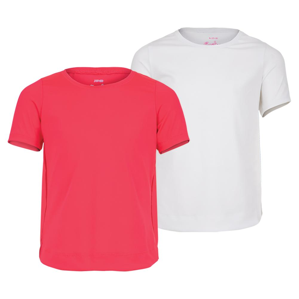 Girls ` Dynamic High- Low Short Sleeve Tennis Top