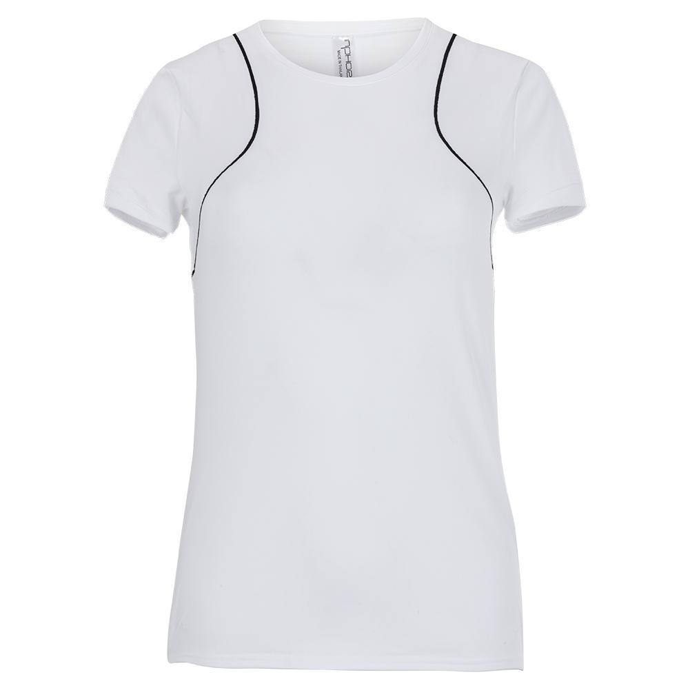 Women's Zone Crew Neck Tennis Top White And Black