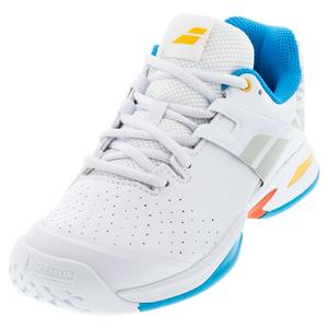 Juniors` Propulse All Court Tennis Shoes White and Diva Blue
