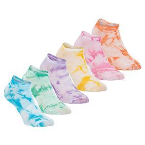Women`s Tie Dye Tennis Socks Carmine Rose Assorted 6 Pair