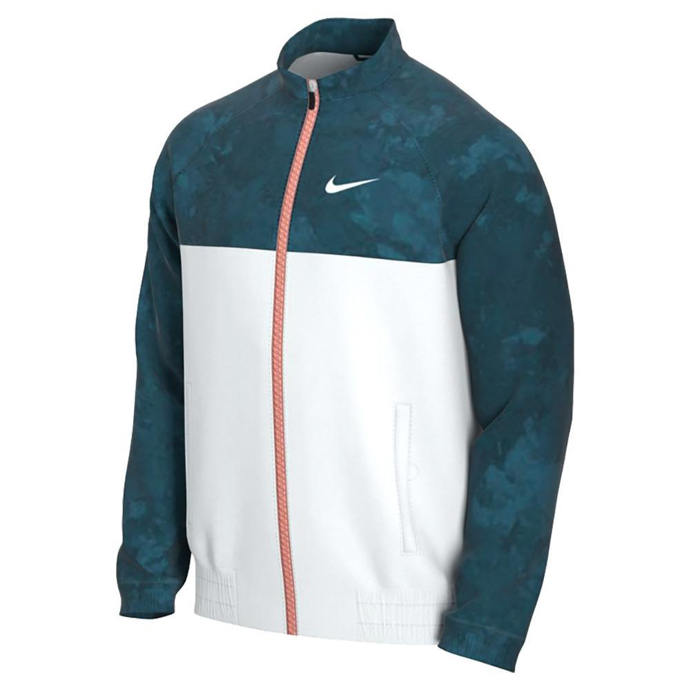 Men's Melbourne Team Court Full- Zip Tennis Jacket Green Abyss And White