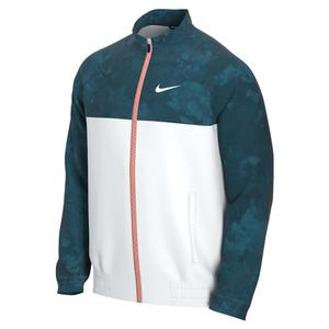 Men`s Melbourne Team Court Full-Zip Tennis Jacket Green Abyss and White