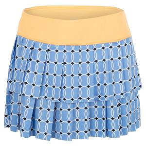 Women`s Double Layer Pleat Tennis Skort Blue Tennis Ball